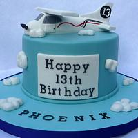 Airplane themed cake: Cessna edible airplane topper