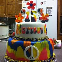 Tye-dyed peace sign cake