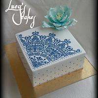 White & blue cake