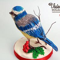Blue Tit on a Log Cake
