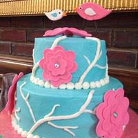 Tiffany Blue Cake with Birds