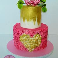 little pink rose cake