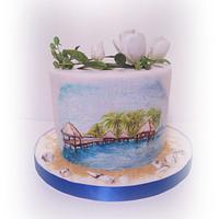 Simple hand painted cake