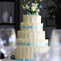 5 tier White Choc Panel Wedding Cake