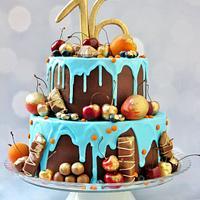 Chocolate ganache birthday cake.