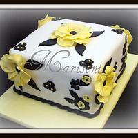 Yellow Anemone Birthday cake by Slice of Sweet Art