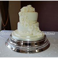 Ivory Rose Waterfall Wedding Cake