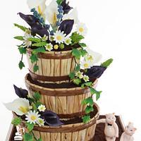 Gâteau de mariage champêtre