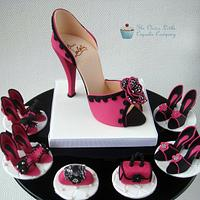 Hot Pink Sugar Shoe and Cupcake Toppers