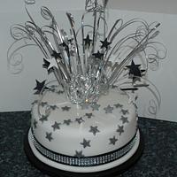traditional silver spray cake