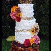 Fall wedding tree stump cake