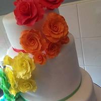 Rainbow Roses Wedding Cake  by KaysCakesBristol