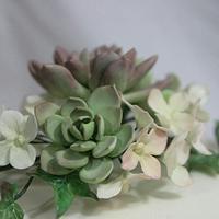 Gumpaste succulents and hydrangeas