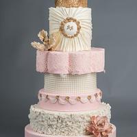 Blush, cream and gold sparkle wedding cake