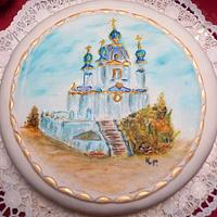 hand painted cake - St. Andrews Church Kiew
