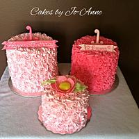 Shades of Pink Rose Swirl Cakes