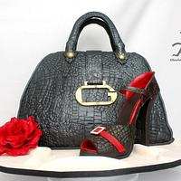 Guess Handbag in Crocodile with matching Stiletto all edible