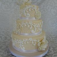 Wedding Cake with Royal Icing Lace