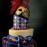 Masquerade cake for a Sweet 16 party.