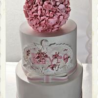 Pink&White Baby Girl Cake