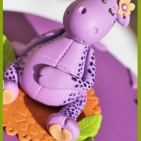 Purple Giraffe Baby Shower by Hot Mama's Cakes