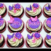 flowers and butterflies birthday cupcakes