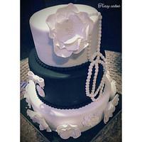 black and white 40th birthday cake