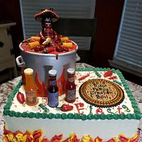 Mexican themed crawfish boil cake