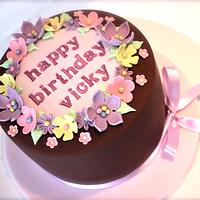 Girly Chocolate Birthday Cake