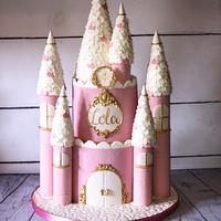 Pink and gold princess castle