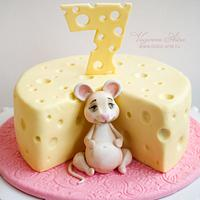 Cake with a mouse and cheese
