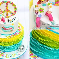 Love Peace 70's themed Cake