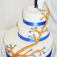 Three Tier Off Set Wedding Cake