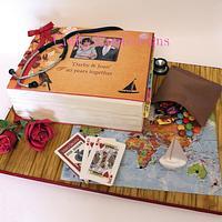 Ruby wedding anniversary scrap book cake