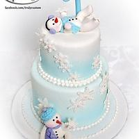 Snowbabies first birthday cake