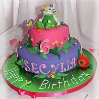 Hello Kitty/ Tinkerbell cake