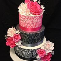 Pink/Silver/Black Flowers