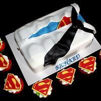 Superman T-shirt Cake and Logo Cupcakes