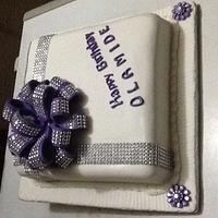Purple and White Bow Loops Cake