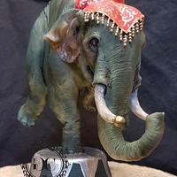 Greatest Showman Elephant balancing on one leg