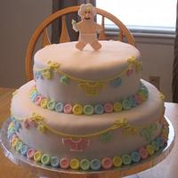 Cute as a Button Baby Shower Cake by Becky Pendergraft