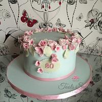 Halo Rose and cherry blossom cake