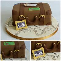 Vintage Suitcase Travel Themed Anniversary Cake