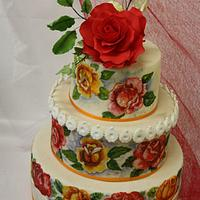 Hand painted and sugar roses on the cake