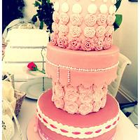 Princess Pink Wedding Cake and matching cupcakes