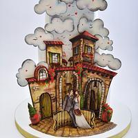 Tuscan Illusion Wedding Cake