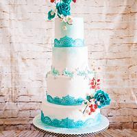 Turquoise Lace Wedding Cake
