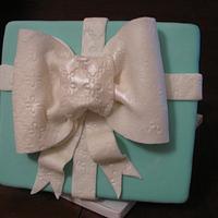 Tiffany box cake with diamond ring