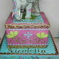 Boho chic elephant cake
