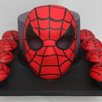 Spiderman Mask Cake with matching Cupcakes with Tutorial for Mask